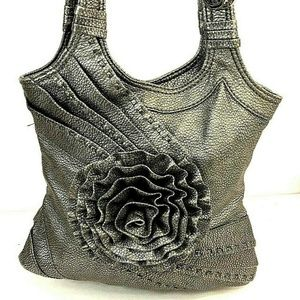 Gray Pebble Leather Shoulder Bag With 3D Flower